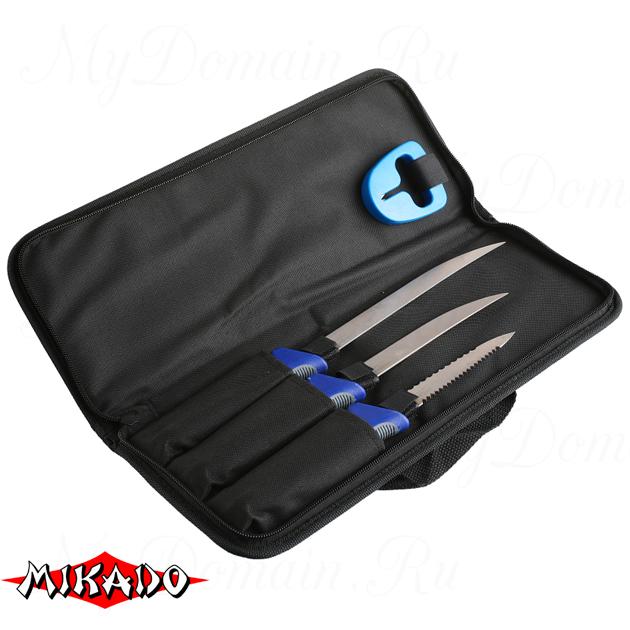 Филейный комплект Mikado малый (2 ножа+рыбочистка+точилка), набор