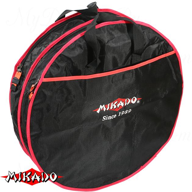 Сумка для перевозки садков Mikado круглая 2 секции (63 х 17 см.) чёрный-красный, шт