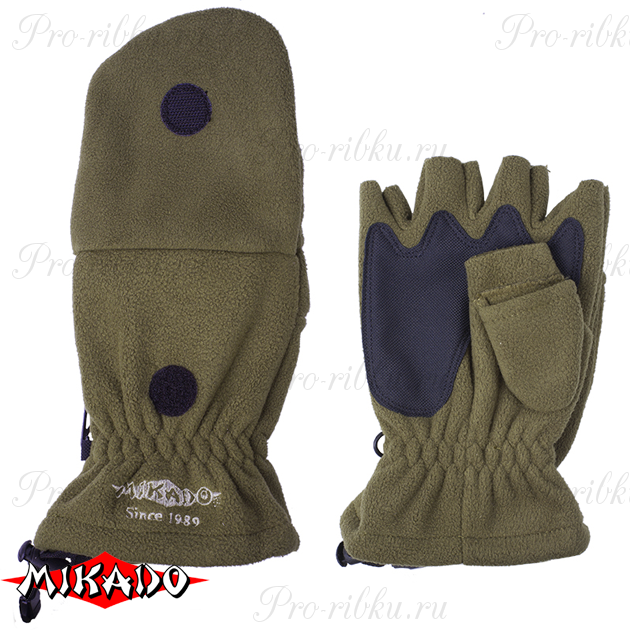 Перчатки рыболовные флисовые Mikado UMR-08G размер XL, шт
