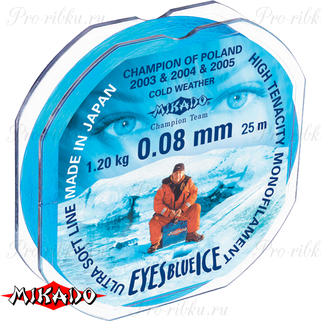 Леска мононить Mikado EYES BLUE ICE 0,12 (25 м) - 2.40 кг.  уп.=10 шт., шт