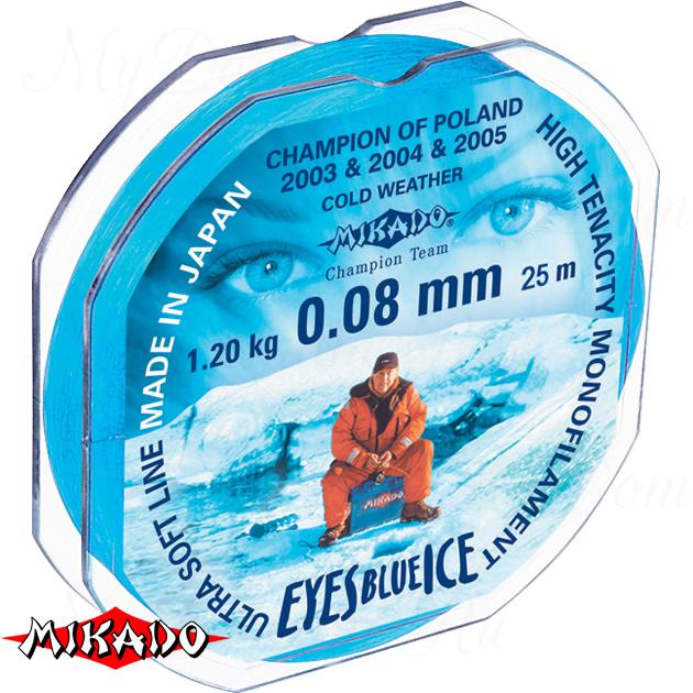 Леска мононить Mikado EYES BLUE ICE 0,16 (25 м) - 3.80 кг.  уп.=10 шт., шт
