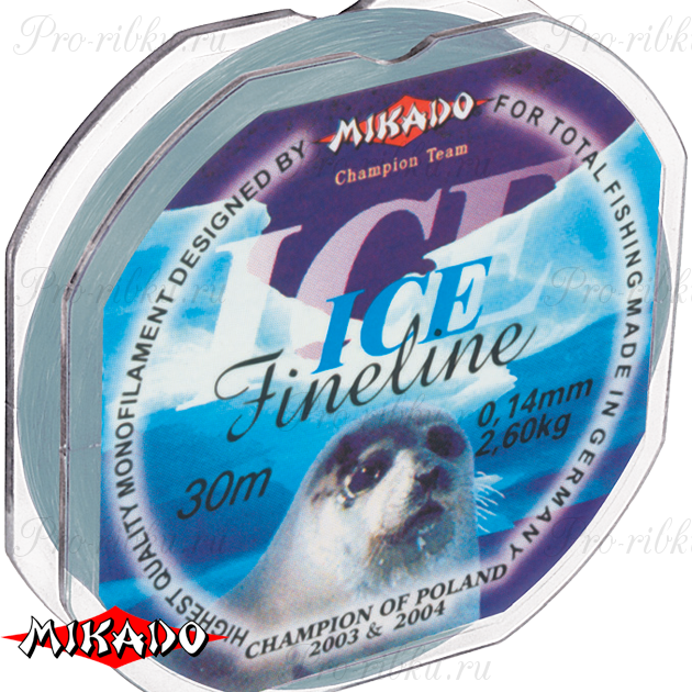 Леска мононить Mikado FINELINE ICE 0,10 (30 м) - 1.65 кг.  уп.=10 шт., шт