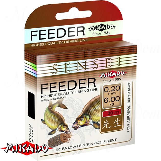 Леска мононить Mikado SENSEI FEEDER 0,18 (30 м) - 5.20 кг.  уп.=10 шт., шт