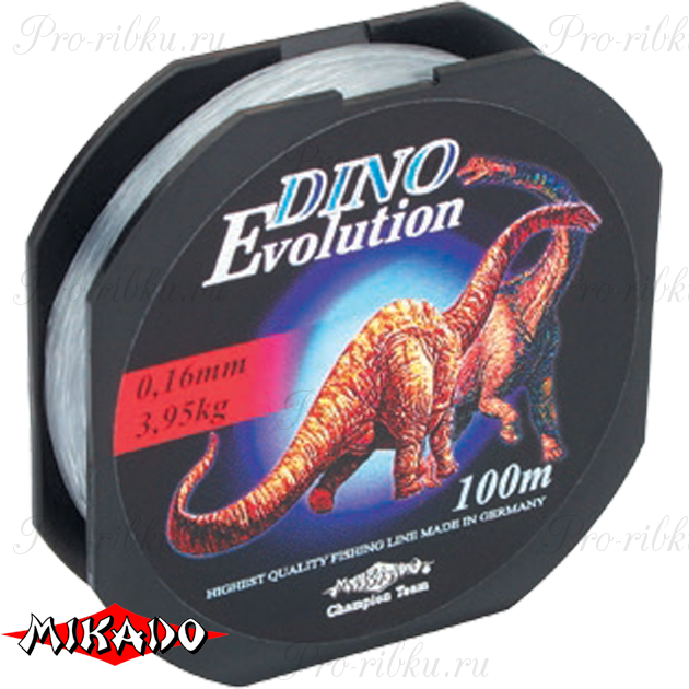 Леска мононить Mikado DINO EVOLUTION 0,14 (100 м) - 3.30 кг.  уп.=10 шт., шт