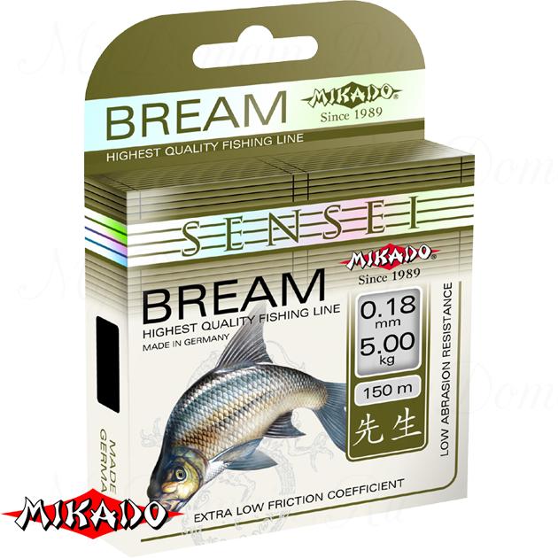 Леска мононить Mikado SENSEI BREAM 0,18 (150 м) - 5.00 кг.  уп.=10 шт., шт