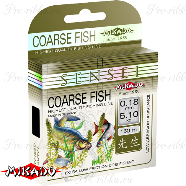 Леска мононить Mikado SENSEI COARSE FISH 0,26 (150 м) - 8.80 кг.  уп.=10 шт., шт