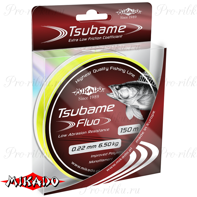 Леска мононить Mikado TSUBAME FLUO 0,18 (150 м) - 5.20 кг.  уп.=10 шт., шт