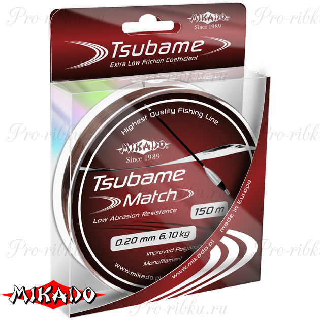 Леска мононить Mikado TSUBAME MATCH 0,22 (150 м) - 6.60 кг.  уп.=10 шт., шт