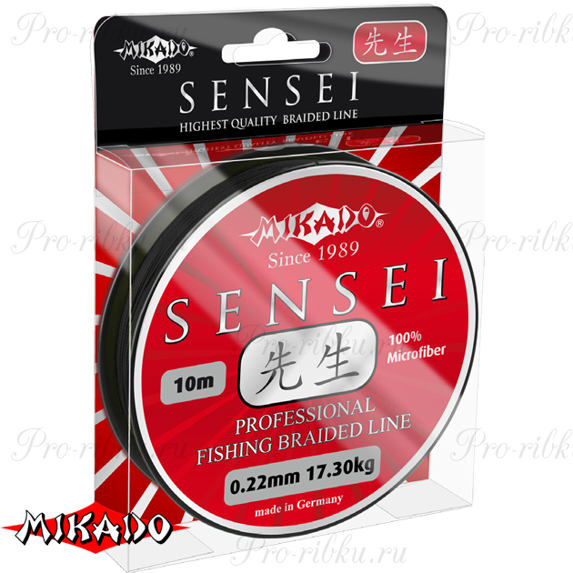 Плетеный шнур Mikado SENSEI 0,10 black (10 м) - 7.30 кг., шт