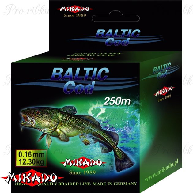 Плетеный шнур Mikado BALTIC COD 0,24 green (250 м) - 19.30 кг., шт