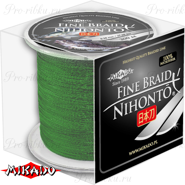 Плетеный шнур Mikado NIHONTO FINE BRAID 0,40 green (300 м) - 34.90 кг., шт