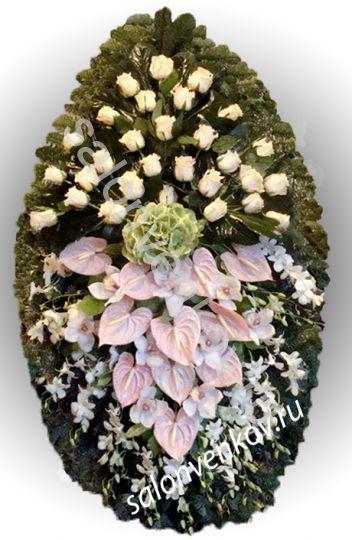 Элитный траурный венок из живых цветов №25, РАЗМЕР 100см,120см,140см,170см