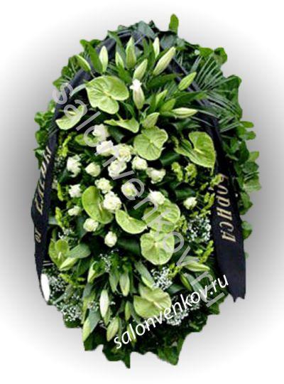 Элитный траурный венок из живых цветов №27, РАЗМЕР 100см,120см,140см,170см