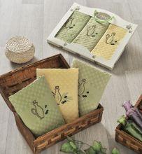 """Комплект махровых салфеток с вышивкой """"KARNA""""  LAMA 45*65 - 3 шт. Арт.2440-1"""