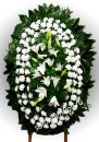 Элитный траурный венок из живых цветов №29, РАЗМЕР 100см,120см,140см,170см