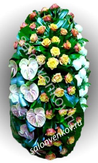 Элитный траурный венок из живых цветов №30, РАЗМЕР 100см,120см,140см,170см