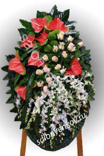 Элитный траурный венок из живых цветов №31, РАЗМЕР 100см,120см,140см,170см