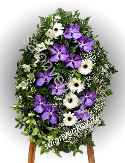 Элитный траурный венок из живых цветов №34, РАЗМЕР 100см,120см