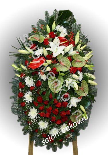 Элитный траурный венок из живых цветов №42, РАЗМЕР 100см,120см,140см,170см