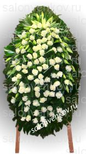 Элитный траурный венок из живых цветов №43, РАЗМЕР 100см,120см,140см,170см