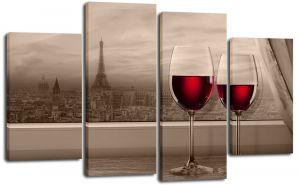 Модульная картина Два бокала и Париж