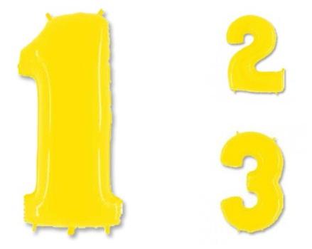 Цифры 1-5 ярко-жёлтые фольгированные шары с гелием
