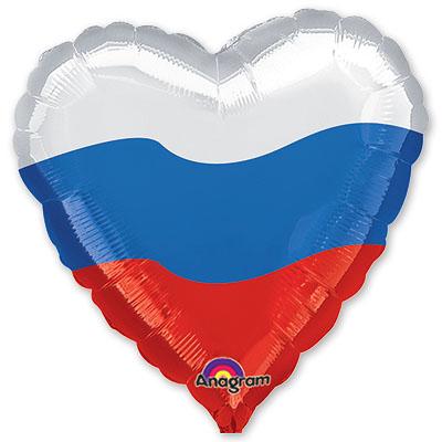 Сердце патриотическое Триколор шар фольгированный с гелием