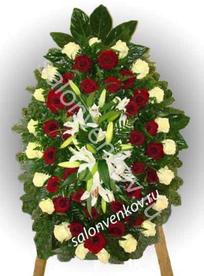 Элитный траурный венок из живых цветов №51, РАЗМЕР 100см,120см,140см,170см