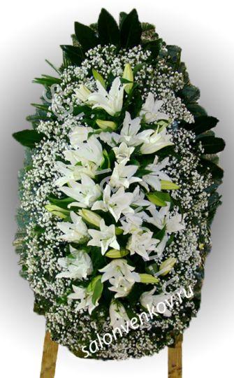 Элитный траурный венок из живых цветов №52, РАЗМЕР 100см,120см,140см,170см
