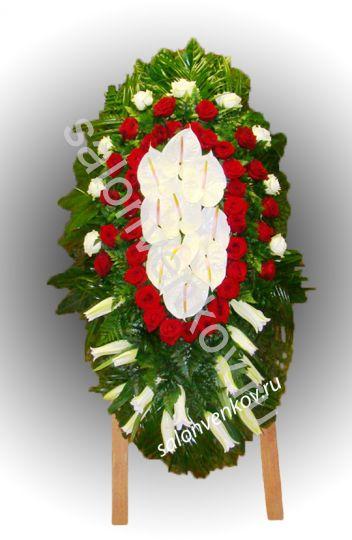 Элитный траурный венок из живых цветов №19, РАЗМЕР 100см,120см,140см,170см