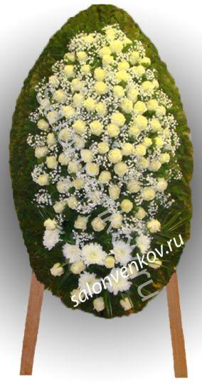 Элитный траурный венок из живых цветов №68, РАЗМЕР 100см,120см,140см,170см