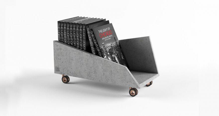 Полка на колесах из бетона