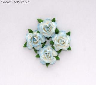Розы кудрявые бело-синие - 4 шт