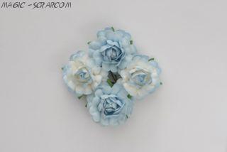 Розы голубые-сине белые - 4 шт