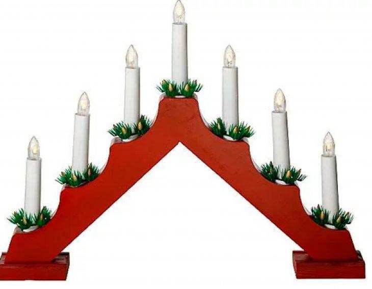 Рождественская горка 7 свечей RED FINN-LUMOR