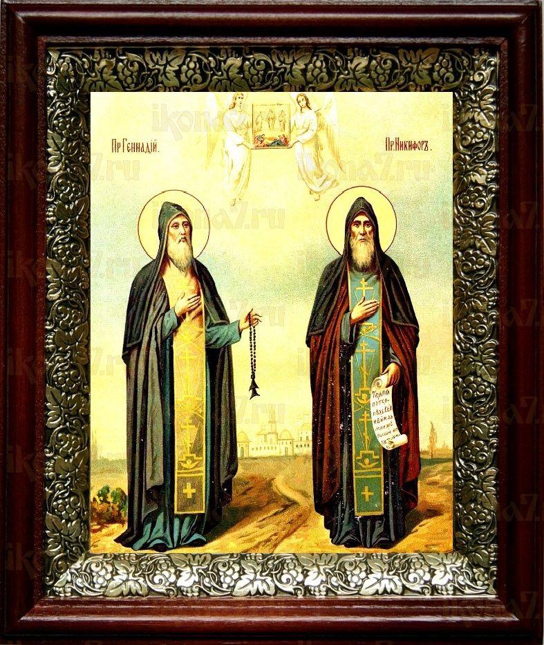 Никифор и Геннадий Важеозерские (19х22), темный киот