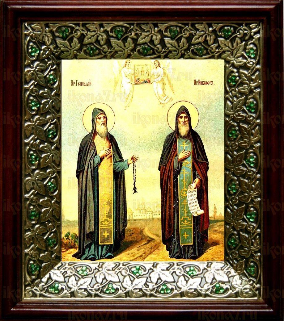 Никифор и Геннадий Важеозерские (21х24), киот со стразами