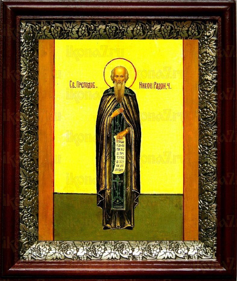 Никон Радонежский (19х22), темный киот