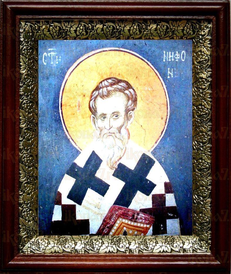 Нифонт Кипрский (19х22), темный киот