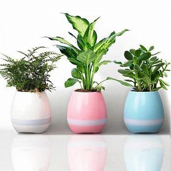 Умный музыкальный горшок для цветов Smart Music Flowerpot (Голубой)