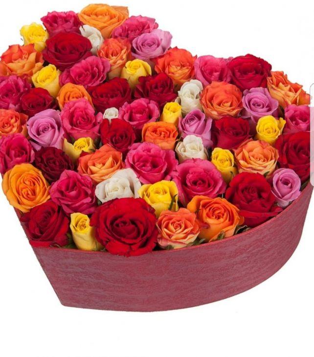 51 роза Микс в коробочке