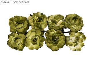 """Розы из бумаги зеленые """"Кудрявые"""" 8 шт"""