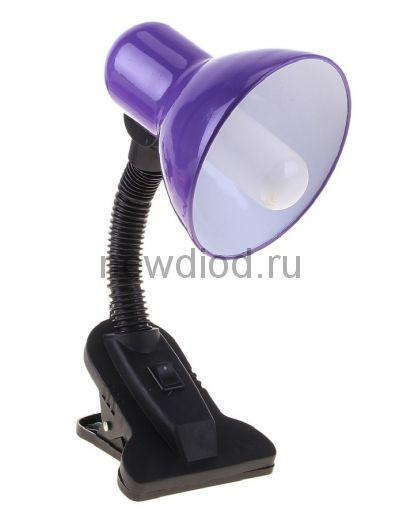 Светильник настольный под лампу СНП-01Ф на прищепке  40Вт E27 ФИОЛЕТОВЫЙ (мягкая упак.) IN HOME