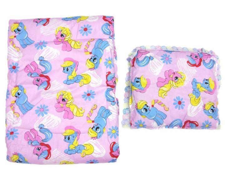 Комплект в кроватку: одеяло, подушка (розовый единорог)