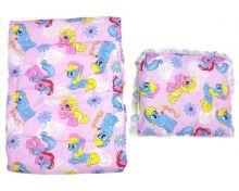 """Комплект на детскую в кроватку: одеяло140х110 + подушка40х40 (бязь розовый единорог) код 01298 """"Мамин Малыш"""" оптом"""