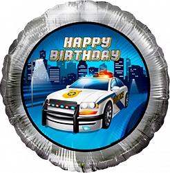 Полицейская машина круг С Днем Рождения шар фольгированный с гелием