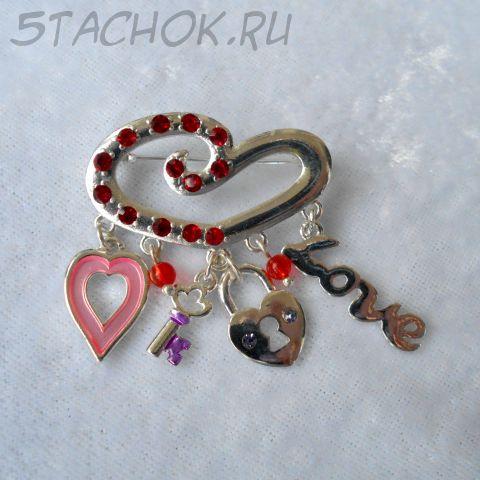 """Брошь """"Любовь-ключ к сердцу"""" (США)"""