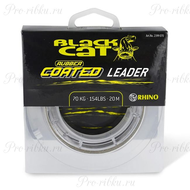 Леска Black Cat Rubber Coated Leader (Grey, (70 кг) (20 м)