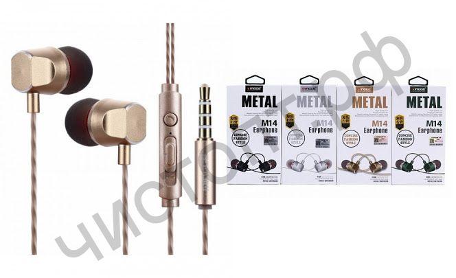 Гарнитура (науш.+микр.) для сотов. Mingge M14 метал вакуум по отзывам отличный звук и бас