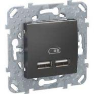 SE Unica Top Графит Накладка/вставка для розетки 2 USB зарядное устройство 2.1А